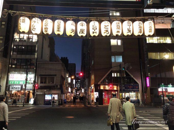 神田駅西口商店街と外堀通りの交差点