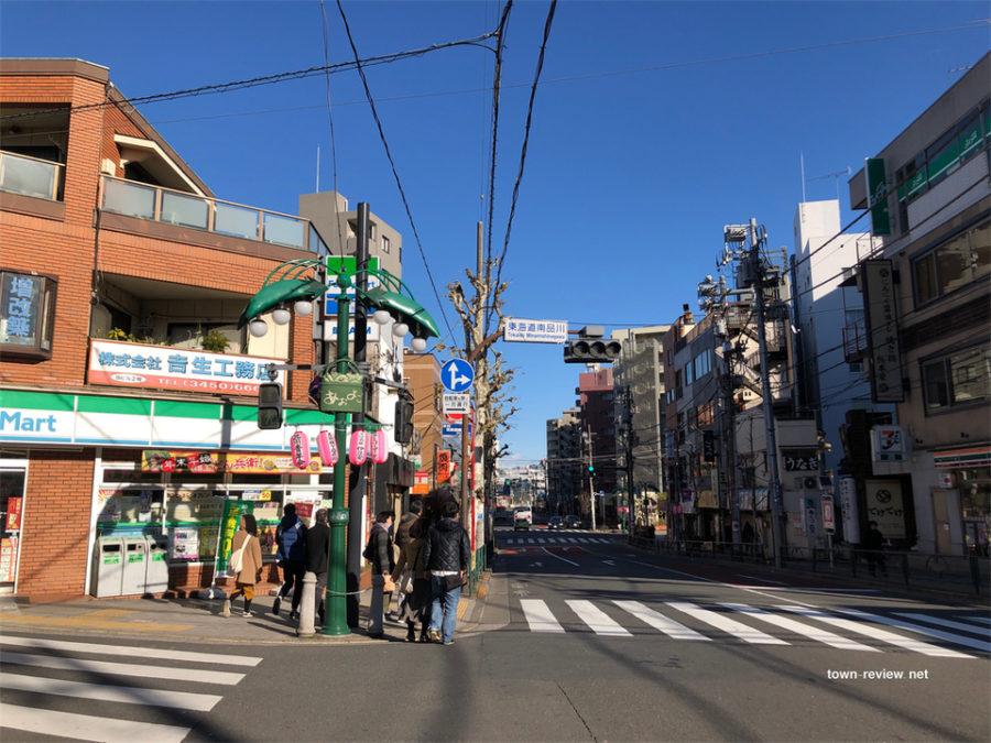 青物横丁駅の近くにある東海道南品川交差点